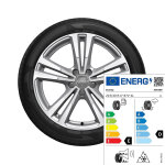 Complete winter wheel in 5-parallel-spoke design, brilliant silver, 7.5 J x 17, 215/40 R17 87V XL, left
