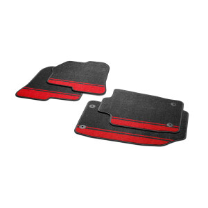 Amplified red decorative textile floor mats, for the front and rear