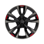 Alloy rim 5-V-spoke acumen, black with contrasting colour quartz grey and signal red, 8,0Jx18