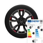 Alloy wheel 5-V-spoke acumen ,  black with contrasting colours quartz grey and signal red, 8,0Jx18, 225/40 R18 92Y XL