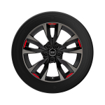 Alloy winter wheel 5-V-spoke acumen, black with contrasting colour quartz grey and signal red, 8,0Jx18, 225/40 R18 92V XL, left