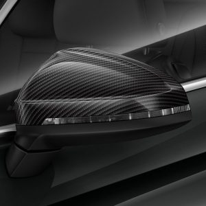 Exterior mirror housing, in carbon, for vehicles without Audi side assist, left