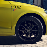 Audi rings decal with heritage flag, brilliant black