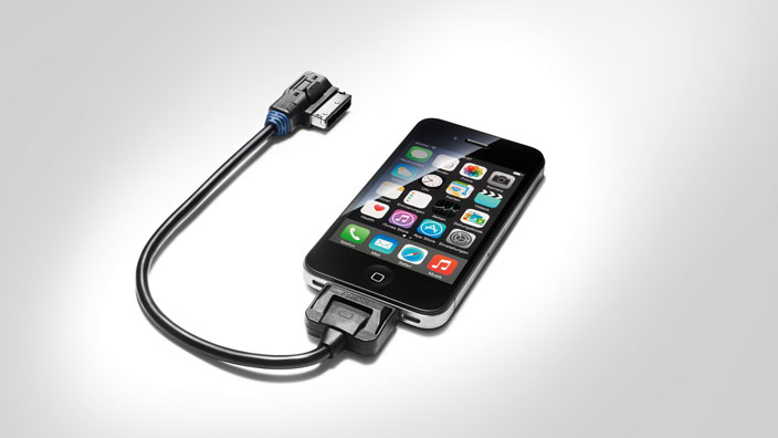 Adapter cable for the Audi music interface, for Apple devices with a dock connector, blue grommet