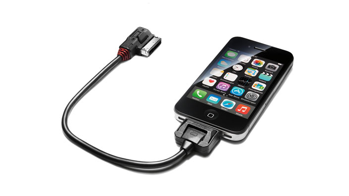 Adapter cable plus for the Audi music interface, for Apple devices with a dock connector, with an Apple licence chip