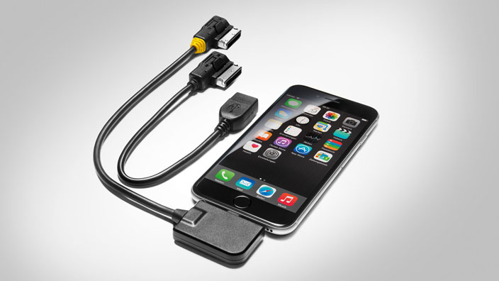 Adapter cable for the Audi music interface, for Apple devices with a Lightning socket and USB, yellow grommet