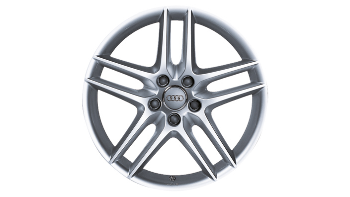 Cast aluminium wheel in 5-twin-spoke design, silver, metallic, 8.5 J x 19