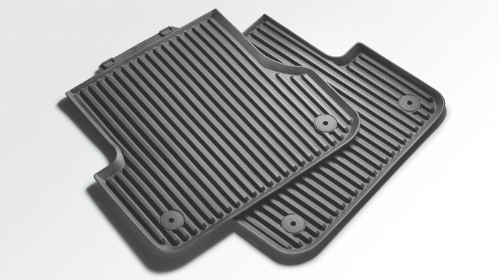 Rubber floor mats, for the rear, granite grey