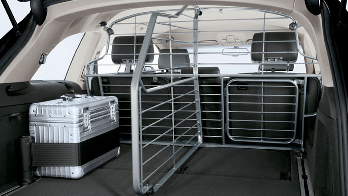 Partition grille for the luggage compartment, longitudinal