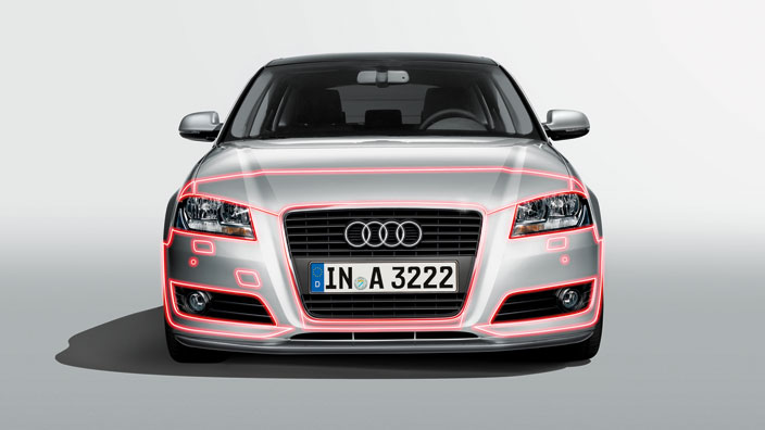 Protective film for paintwork, for vehicles without a headlight washer system and with a park assist