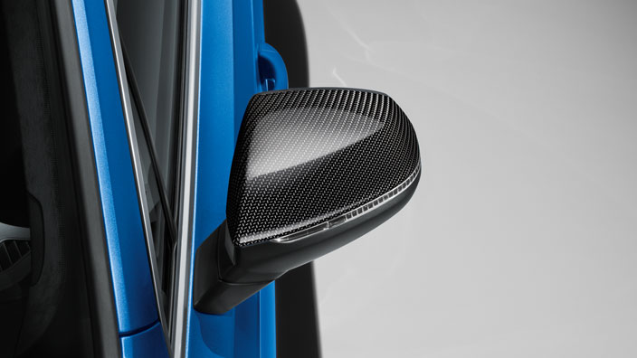 Exterior mirror caps, in carbon, for vehicles with Audi side assist