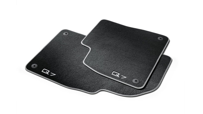 Premium textile floor mats, for the front, black/silver-grey