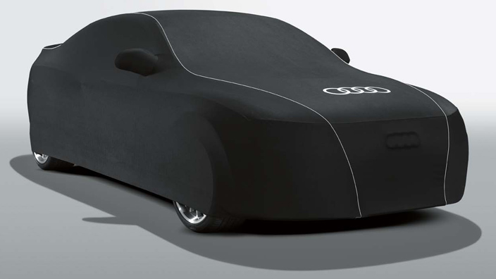 Car cover (indoor), with Audi rings,for vehicles with a fixed rear wing