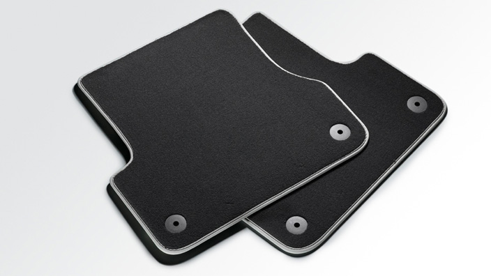 Premium textile floor mats, for the rear, black/silver-grey