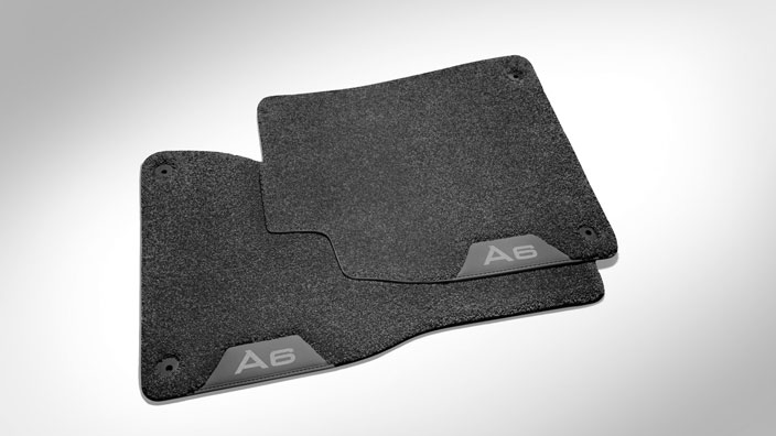 Deep-pile textile floor mats, for the rear, black