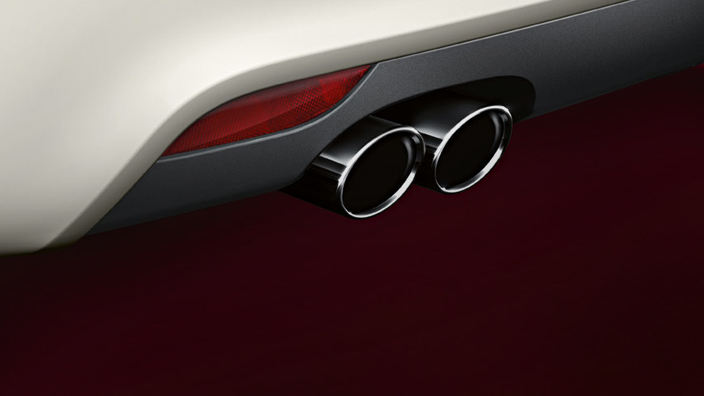 Sport tailpipe trim, for vehicles with a single tailpipe on the left, chrome-finished, black
