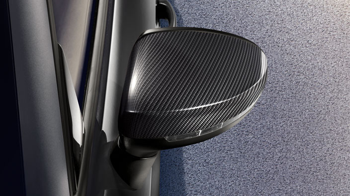 Exterior mirror caps, in carbon, for vehicles without Audi side assist