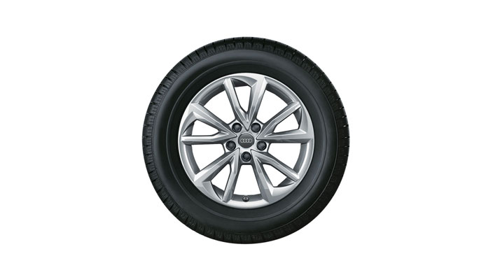 Complete winter wheel in 5-arm falx design, brilliant silver, 7 J x 17, 225/50 R17 98H XL, right