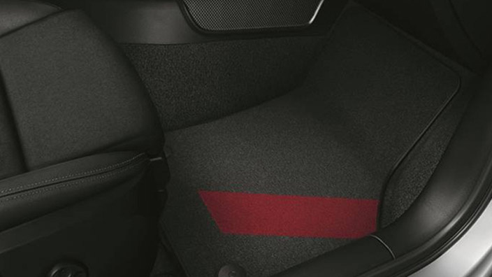 colour kit red, decorative textile floor mats, for the front and rear, black/misano red