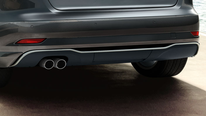 Rear diffuser, for vehicles with single tailpipes on the left and right, matt black