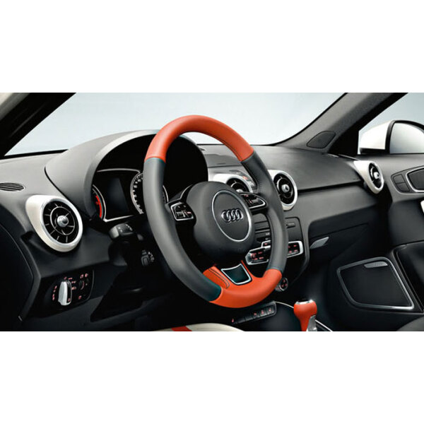 competition kit legends sports leather steering wheel, black/begonia red