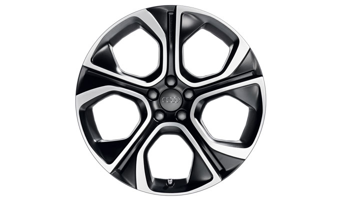 Cast aluminium wheel in 5-arm polygon design, matt black, 7.5 J x 18