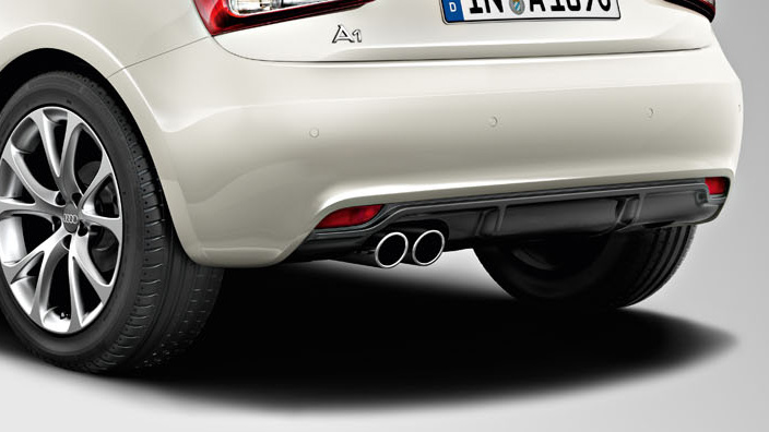 competition kit aerodynamics rear diffuser, for vehicles with a twin tailpipe, matt black