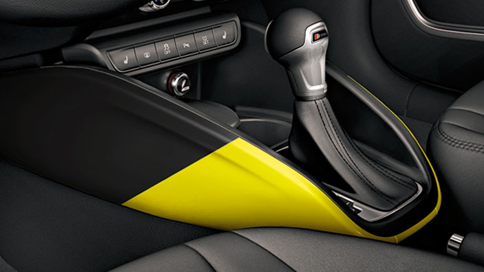 Decorative trims for the centre console, macau yellow/brilliant black