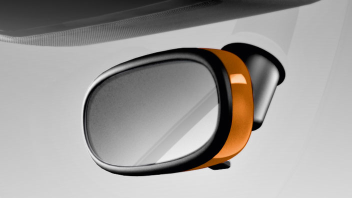Decorative trim for the interior mirror, automatic anti-dazzle, samoa orange, metallic