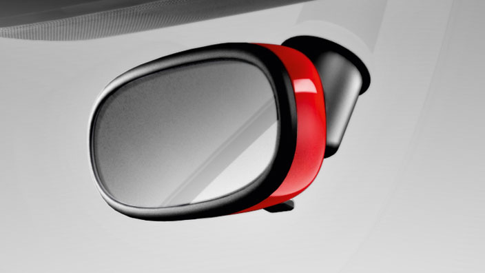 Decorative trim for the interior mirror, manual anti-dazzle, misano red, pearl effect